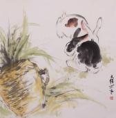 【询价】动物画家王文强写意国画动物《玉兔》