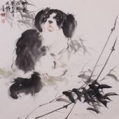 【询价】动物画家王文强写意动物画作品《竹林幽然》