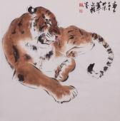【已售】国画虎 王文强精品写意动物画《虎虎生威》