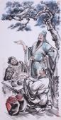 桃园三结义 张砚钧人物画作品《醇酒兄弟情》