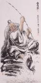 著名人物画家张砚钧四尺竖幅人物画《喜获》