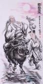老子出关 张砚钧精品人物画《紫气东来》