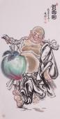 名家张砚钧四尺竖幅人物画作品《贺寿图》