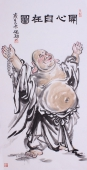 张砚钧四尺竖幅人物画《开心自在图》