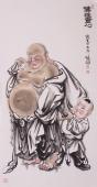 佛像图 著名人物画家张砚钧四尺竖幅大肚佛《佛性童心》