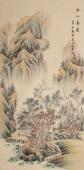 著名山水画家黎启师四尺竖幅《秋山高远》