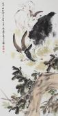 三阳开泰 王文强四尺竖幅动物画作品