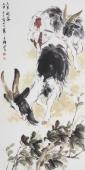 动物画名家王文强四尺竖幅《三阳开泰》