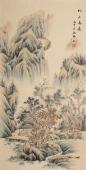 黎启师写意精品四尺竖幅《松山高远》