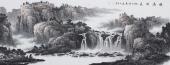 山水画家牛鸿亮写意六尺精品《源远流长》