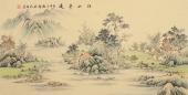 名家字画 黎启师写意精品四尺横幅山水画《江山平远》