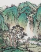 黎启师精品写意小六尺山水画《山翠泉清》