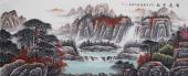 著名山水画家曾庆淮写意小八尺山水画《鸿运千秋》