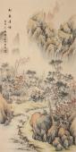 黎启师精品四尺竖幅山水画《松泉清音》