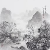 书房字画 云浩写意斗方水墨山水《静谧的花溪》