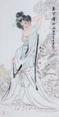 著名书画家李孟尧写意人物画《玉簪禅心》