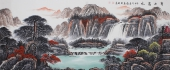 山水画家曾庆淮写意小八尺《宝山富水》