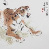 国家一级美术师王文强精品写意《虎虎生威》