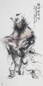 著名人物画家杨西沐四尺竖幅人物图《钟馗神威图》