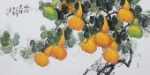 玄关挡煞纳福挂画 黄艺四尺横幅花鸟画《福禄连绵》