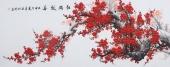 周翁弟写意国画梅花小六尺横幅《红梅报春》