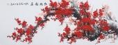 国画梅花 周翁弟写意六尺花鸟画作品《红梅报春》