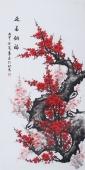 周翁弟四尺竖幅国画梅花图《迎春纳福》