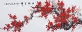 周翁弟写意六尺国画梅花图《五福呈祥》