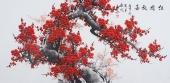当代画家周翁弟四尺梅花图《红梅放春》