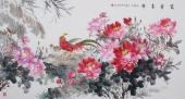 著名画家曾庆淮六尺写意牡丹画《富贵吉祥》