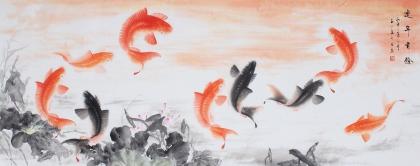 【已售】聚财风水画 董宗周六尺对开九鱼图《连年有余》