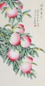 北京美协凌雪三尺竖幅工笔花鸟画《福寿康宁》