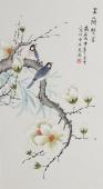 北京美协凌雪三尺竖幅工笔花鸟画《玉兰双雀》