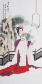 北京美协会员凌雪四尺工笔人物《贵妃消夏》