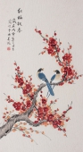 北京美协会员凌雪三尺工笔花鸟《红梅报春》