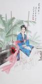 北京美协会员凌雪四尺精品人物《芭蕉叶下》