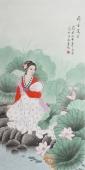 北京美协会员凌雪四尺人物《荷香万里》