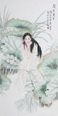 北京美协会员凌雪四尺人物《仕女赏春》