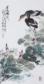 广西美协三尺竖幅精品写意花鸟《湿地嘻嘻》