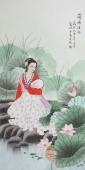 北京美协会员凌雪四尺人物《荷塘清趣》