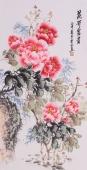 安徽美协会员云志三尺竖幅牡丹《花开富贵》