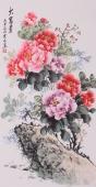 安徽美协会员云志三尺竖幅牡丹《大富贵》