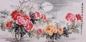 安徽美协会员云志四尺牡丹《月淡风清暗香来》