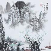 书房字画 张春奇精品写意山水《漓江烟雨》