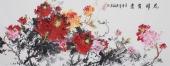 经典牡丹构图 赵君梅最新力作六尺牡丹图《花开富贵》