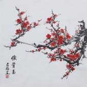 书画艺术家赵君梅四尺斗方梅花图《傲骨图》
