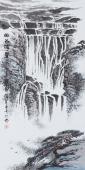 国画名家张春奇三尺竖幅山水画《幽谷涛声》