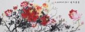 经典写意牡丹图 赵君梅六尺横幅花鸟画《富贵吉祥》