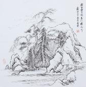 北京美协张春奇四尺斗方山水画《我心素已闲青川瞻为此》