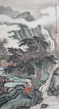 【询价】河北美协王立芳六尺竖幅国画精品《山水清音》